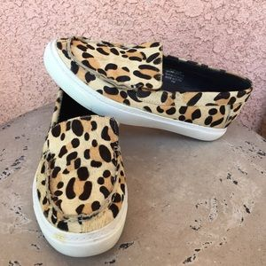 Jeffrey Campbell Cheetah Leather Loafers Slip Fur